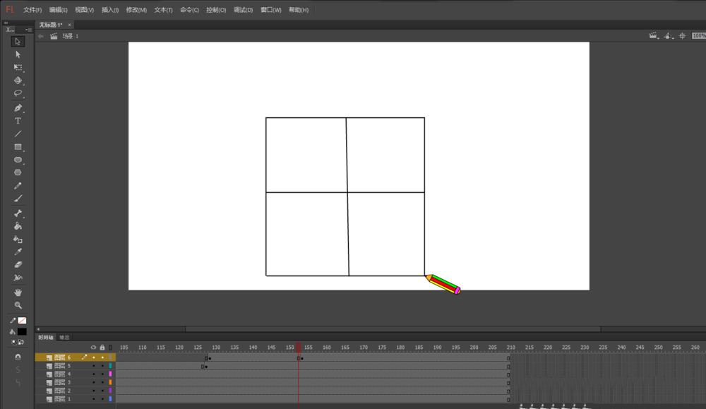 Flash怎么制作铅笔写田字格的动画? Flash动画制作 第18张