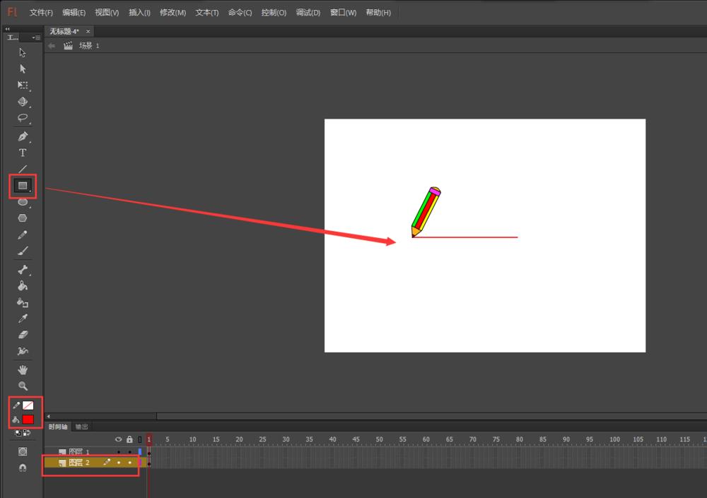FLash动画软件里面的铅笔工具怎么添加画线条的动画? Flash动画制作 第6张
