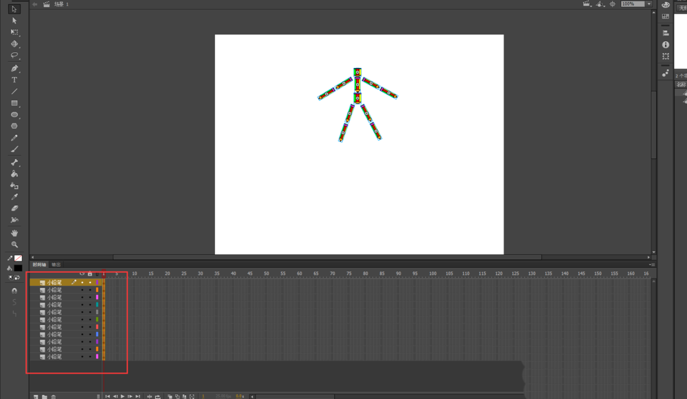 Flash动画软件怎么设计铅笔人拆分又组合的动画? Flash动画制作 第6张