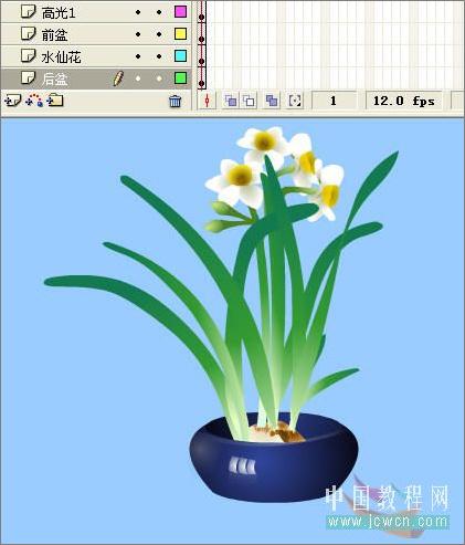 Flash动画制作软件绘画技巧实例:鼠绘好看的水仙花
