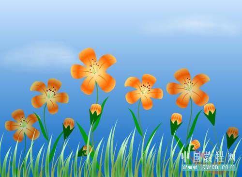 Flash动画制作软件新手鼠绘:漂亮的卡通花草场景 Flash动画制作 第1张
