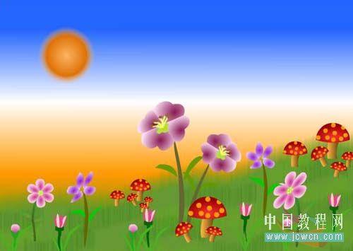Flash动画制作软件新手鼠绘:漂亮的卡通花草场景 Flash动画制作 第2张