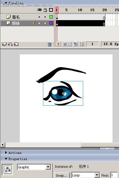 Flash动画制作软件绘制卡通人物眨眼动画的方法及技巧