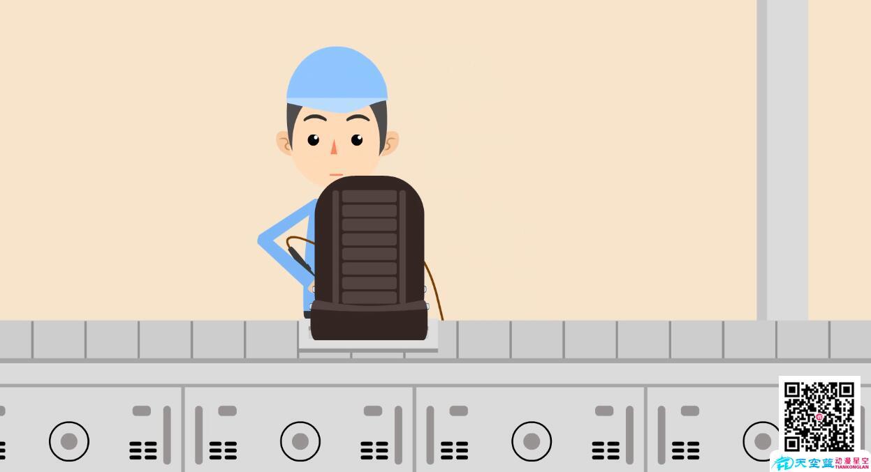 「MG动画」汽车工厂车间工人给汽车座椅上螺丝动画制作