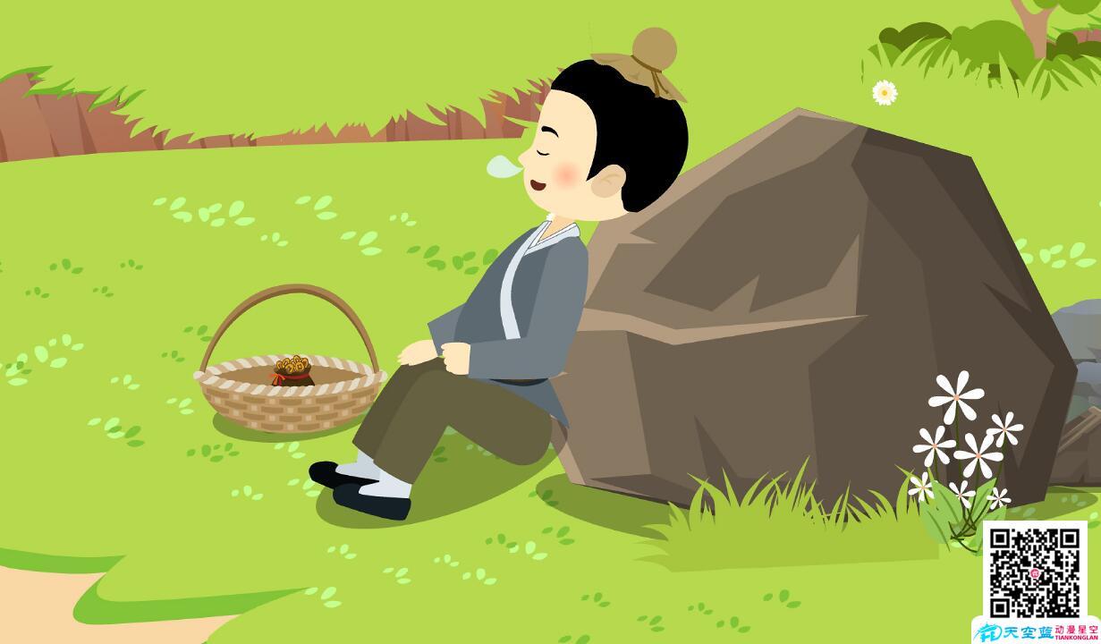 动漫设计制作「包公审石头」动画视频分镜头小孩睡着了.jpg