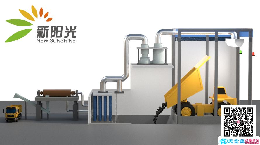 清洁新能源《露天矿破碎站卸煤坑粉尘处理系统》三维动画视频制作