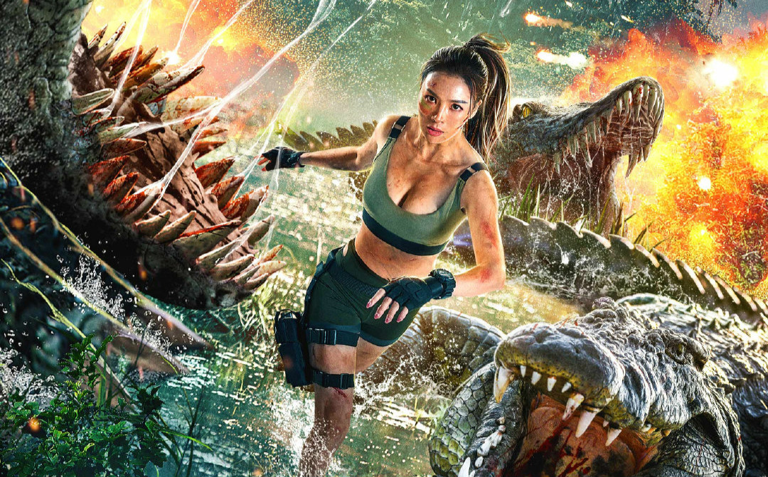 《狂暴巨鳄》打女模特擦边球,两大名模抢眼,但鳄鱼实在低能