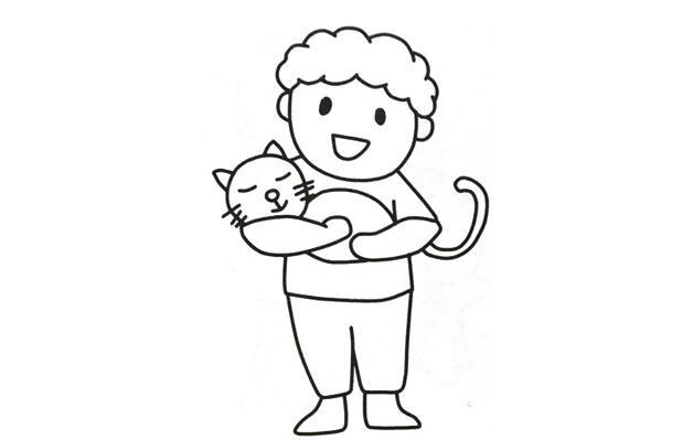 抱着猫咪的小男孩简笔画怎么画,抱着猫咪的小男孩简笔画素材.jpg