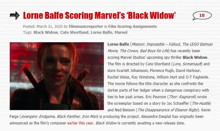 临近上映依旧换人 漫威《黑寡妇》更换电影作曲家
