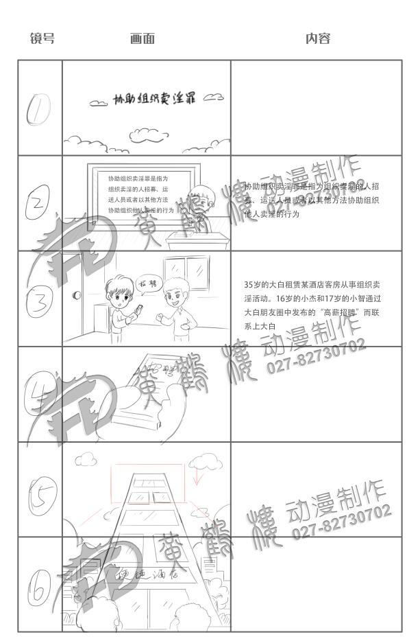 Flash逐帧动画制作《协助组织卖淫罪》法院法制宣传科普动画片线稿分镜设计