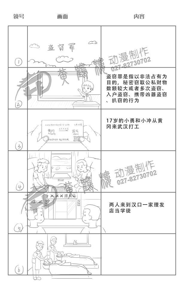 动画制作《盗窃罪》法院法制宣传科普动画片线稿分镜设计