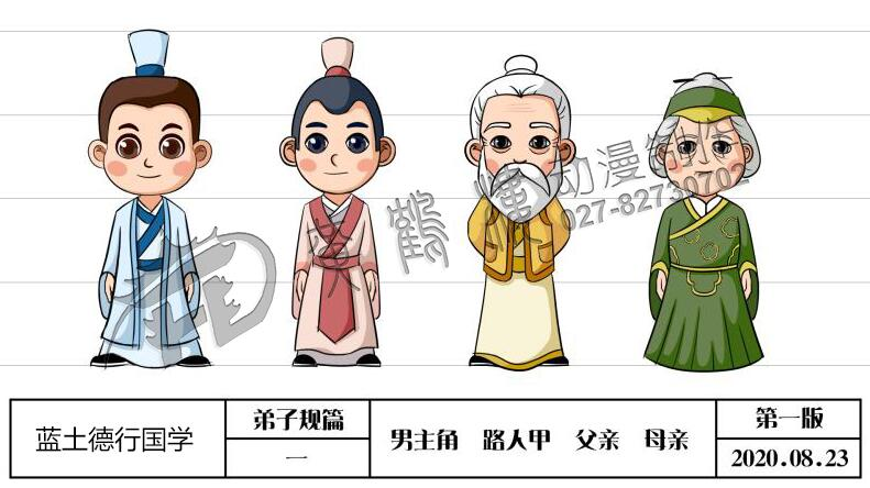 蓝土德行国学每课一省《弟子规》人物角色设计