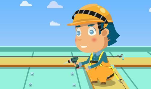 黄鹤楼动画《轻型屋面施工高处坠落事故》安全教育动画片制作