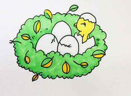 手绘小鸟窝简笔画怎么画呢?