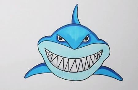 手绘巨齿鲨简笔画怎么画呢?