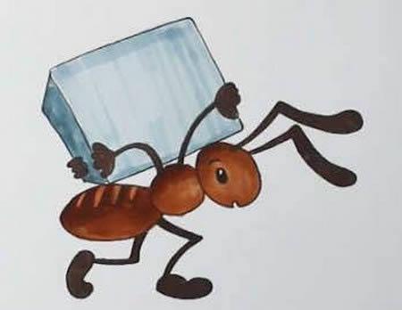手绘蚂蚁搬家简笔画怎么画呢?