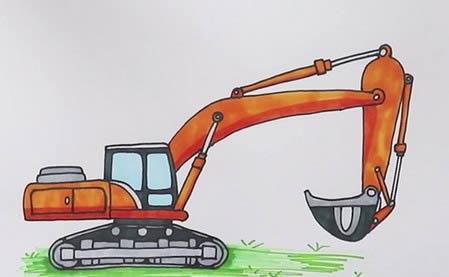 手绘挖掘机简笔画怎么画呢?